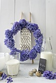Wreath of hyacinths, milk and quails' eggs
