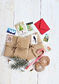 Christmas post on white wooden table