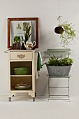 Houseplants on vintage serving trolley and in zinc tub on folding chair