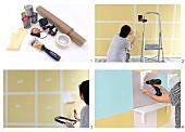 Wandgestaltung mit pastellfarbenen und gelben Farbquadraten und anschrauben von weißen Konsolenregalen