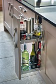 Kitchen base unit with open sliding cupboard