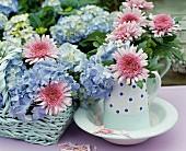 Hellblaue Hortensien in pastellfarbenem Korb und rosa Chrysanthemen in Retro Krug