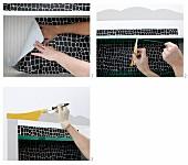 Vintage Kommode aufpeppen - Rückwand mit Papier bekleben und anstreichen