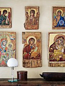 Collection of religious icons on wall
