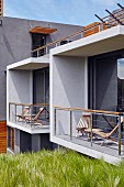Cubist balconies on façade of modern house