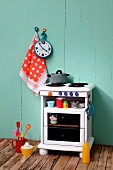 Hand-made play cooker made from old bedside table