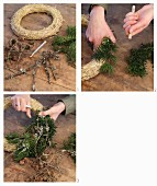 Tying a wreath of conifer branches and larch cones