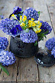 Hyacinths, cowslips and violas in enamel jug