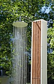 Outdoor shower with running water