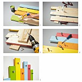 Instructions for making children's coat rack from wooden boards painted in bright colours