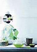 Japanese still-life arrangement with green tea