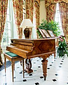 Wood-veneer grand piano in grand salon