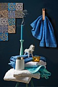 Blue and white bathroom accessories