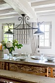 Rustic dining table in farm house