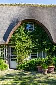 Haus mit Reetdach und gepflasterter Hof