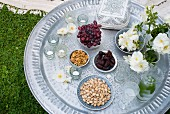 Silver tray set for Oriental picnic