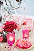 Table decoration for wedding in pink tones