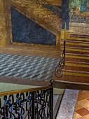 Staircase and trompe l'oeil fresco in palazzo