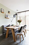 Minimalist wooden table in modern dining room