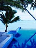 Blick über Infinity-Pool aufs Meer (Rarotonga, Cookinseln, Südpazifik)