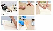Picknicktisch aus Glasflaschen und Holzplatten selber bauen