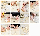 Instructions for making a dreamcatcher from crocheted doily and wooden beads