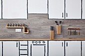 DIY wooden shelves and containers in kitchen