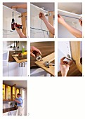 Instructions for attaching wood and glass kitchen cabinet doors and fitting interior lighting