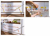 Instructions for revamping kitchen cabinet fronts using adhesive letters