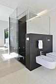Bad en suite mit ebenerdiger Dusche und Glaswand