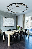 Eclectic furniture in dining room