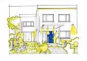 Illustration: Beleuchtungskonzept für Hauseingang und Garage