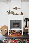 White tiled oven in eclectic living room
