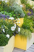 Terraced flowerbeds made the most of vertical space