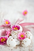 Speckled Easter eggs and pink primula flowers