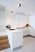 Minimalistische moderne Küche ohne Oberschränke