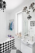 White bathroom with chequered patterns