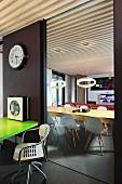 Dining room in mixture of retro and futuristic design