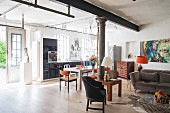 Artistic eclectic style in loft apartment in converted metalworking shop