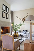 French country-house-style living room in pastel shades