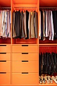 Men's clothing in fitted wardrobe with drawers