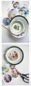 Decorating plates with pictures of women