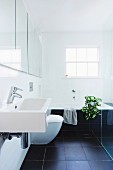 Modern bathroom with black tiled floor, white sink in front of a mirror cabinet