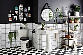 Bathroom design in black and white with shelf, retro wash basin on checkerboard pattern floor in front of half-high white tiled wall