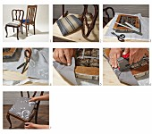 Re-upholstering seats of dining chairs