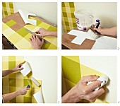 Pasting steps of green checked wallpaper on wall