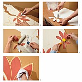 Instructions for cutting out sections of floral wallpaper along flower contours and applying to beige wall