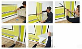 Instructions for decorating wall with horizontal and vertical strips of wallpaper