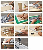 Instructions for making screen from black and white patterned fabric