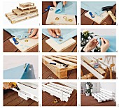 Instructions for making a couch from pallets and an awning for the terace